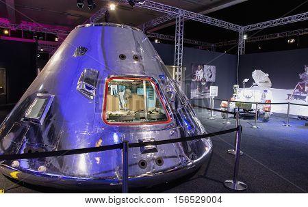 BRATISLAVA SLOVAKIA - NOVEMBER 9: Apollo command module at exhibition Cosmos on November 9 2016 in Bratislava