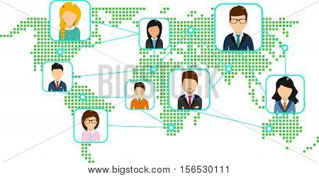 The concept of a world map with a set of icons representing an association of people from a distance.