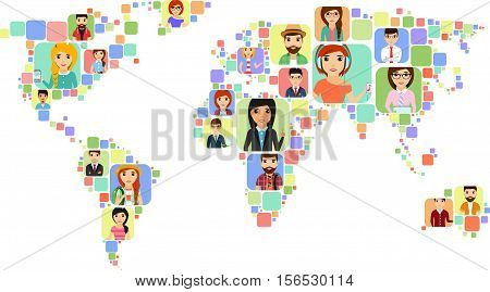 The concept of a world map with icons of various people. Happy people.