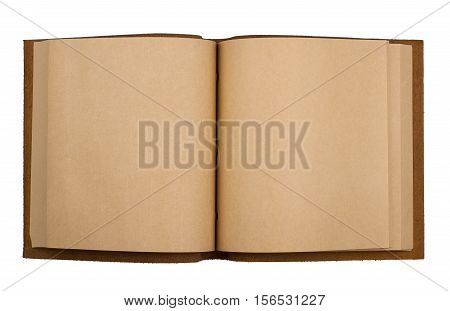 top view of open notebook with leather brown cover and white pages isolated on white background