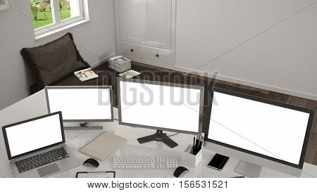 White workplace with computers on a desk, 3d illustration