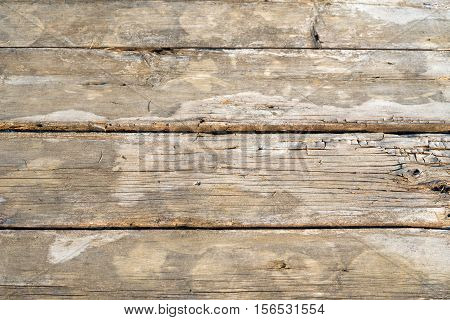 Old wooden rotten boards with fallen pine needles background