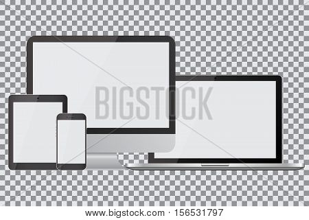 Set of realistic computer monitors laptops tablets and mobile phones. Electronic gadgets isolated on isolated background