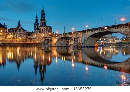 The famous Hofkirche and a bridge over the river Elbe in Dresden, Germany, at dawn