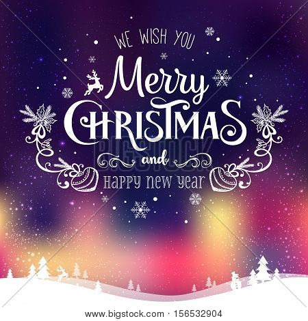 Christmas and New Year typographical on background with winter landscape with Northern Lights snowflakes light stars. Xmas card. Vector Illustration