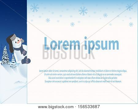 template for your text. snowman in the cap peeking out from behind a white sheet. the falling snowflakes. snowy landscape in the background