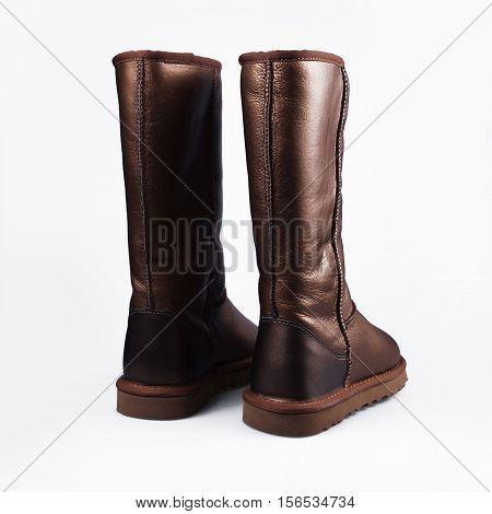 stylish winter female boots over white background