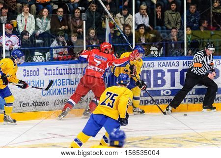 Tyumen, Russia - April 19, 2008: International hockey tournament among youth teams till 20 years Tournament of four nations. Final. Teams of Russia and Sweden