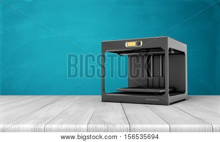 A black 3d printer standing on a white wooden table on the sea blue background. Introduction of modern technologies. 3d printing and additive manufacturing. Creating products made of plastics at a high level of detail.