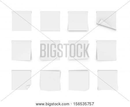 3d rendering of twelve blank white stickers, two of the stickers are folded in the corner, isolated on the white background. Office and school supplies. Stationery items. Post-it notes.
