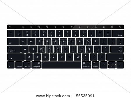 Laptop keyboard vector mock up. Top view. Black Keyboard Stroke QWERTY with touch bar - Isolated Vector Illustration