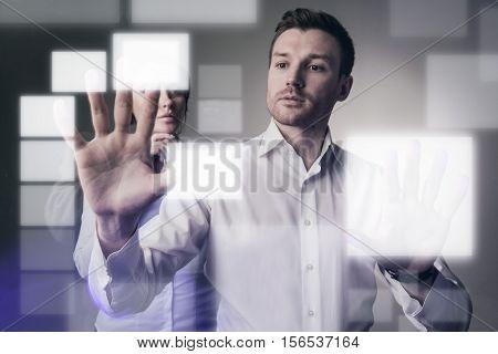 Virtual display concept business man select empty rectangular space