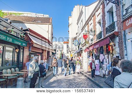 PARIS FRANCE, circa April 2016. Street of the Chevalier de la Barre in Montmartre. Close to the cathedral of the sacre coeur. Montmartre is the most popular neighborhood in Paris and its highest point