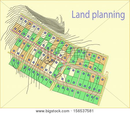 land, plan, city, urban, landscape, drawing, village, color