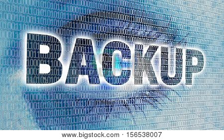 Backup eye with matrix looks at viewer concept.