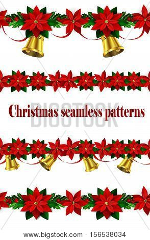 Set of n Seamless borders Bright Fun Christmas Winter Holidays Patterns with poinsettia and green holly and berries and golden bells