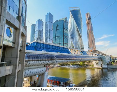 MOSCOW, RUSSIA - JULY 17, 2016: Moscow skyline. Modern skyscrapers in business district. Moscow, Russia
