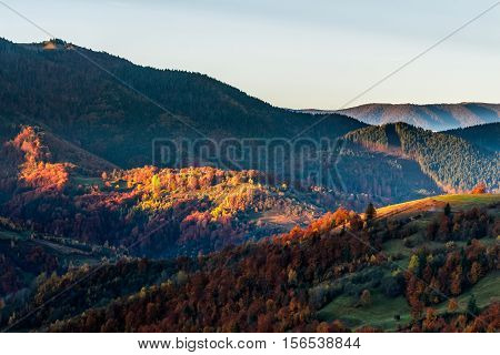 Hot Sunrise In Carpathian Mountains