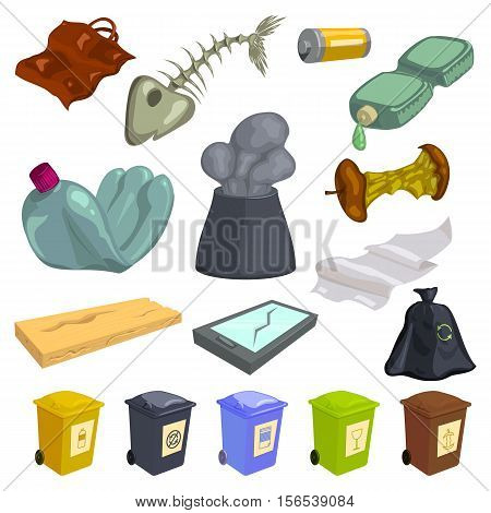 Garbage icons set. Cartoon illustration of 16 garbage vector icons for web