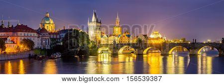 River Vltava At Dusk Prague Czech Republic