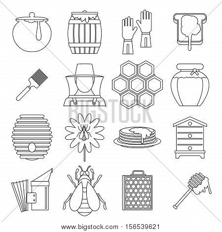 Apiary tools icons set. Outline illustration of 16 apiary tools vector icons for web