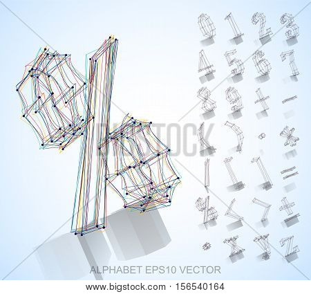 Abstract illustration of a sketched Numbers And Mathematical Symbols with reflection. Set of hand drawn 3D Numbers And Mathematical Symbols for your design. EPS 10 vector illustration