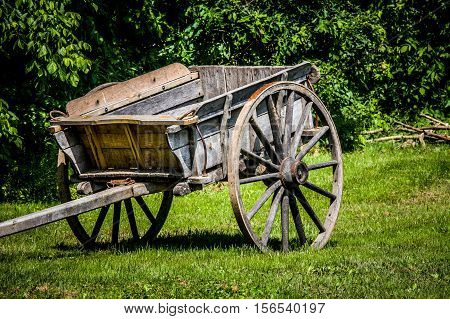 Old wooden cart  used during Colonial times at Mount Vernon, home of George Washington