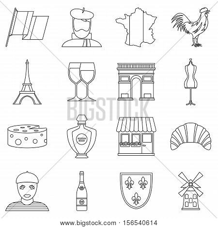 France travel icons set. Outline illustration of 16 France travel vector icons for web