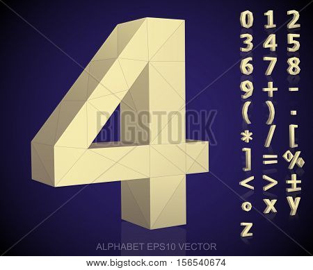Set of Yellow 3D polygonal Numbers And Mathematical Symbols with reflection. Low poly alphabet collection. EPS 10 vector illustration.
