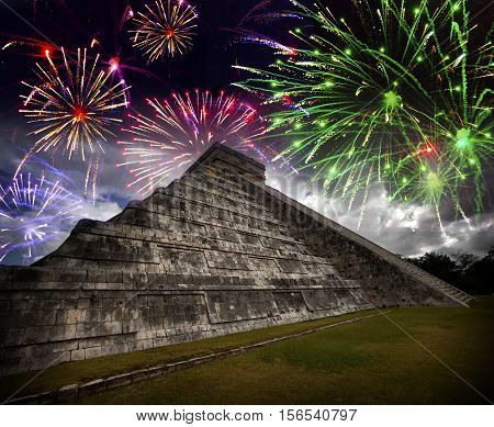 Festive fireworks over Kukulkan's pyramid Mexico .