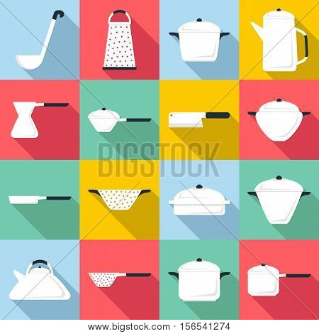 Tableware icons set. Flat illustration of 16 tableware vector icons for web