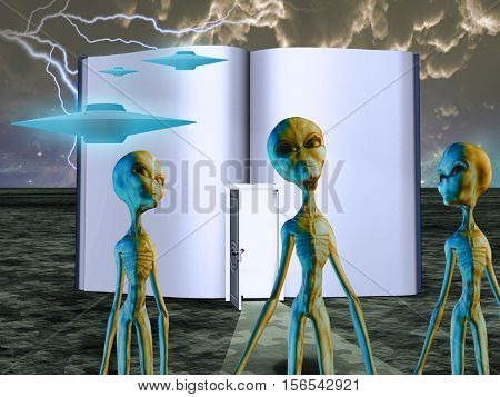 Aliens Story Book   3D Render
