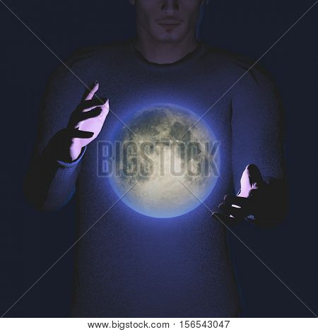 Bright moon hovers between mans palms   3D Render  Some elements provided courtesy of NASA