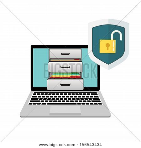 Laptop with boxes of documents and unprotected shield. Shield and open lock.