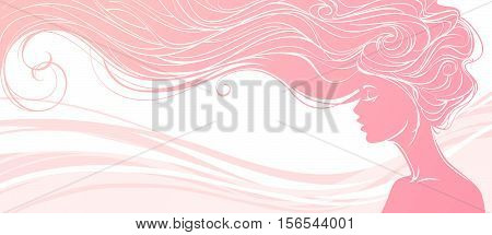 Vector illustration. Beautiful silhouette of long hair woman on pink background. Concept design for beauty salons spa cosmetics fashion and beauty industry.
