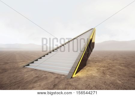 Creative illuminated stairs in desert. Close up. Technology and success concept. 3D Rendering