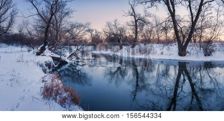 Panoramic Winter Landscape With Trees, Beautiful Frozen River At Sunset