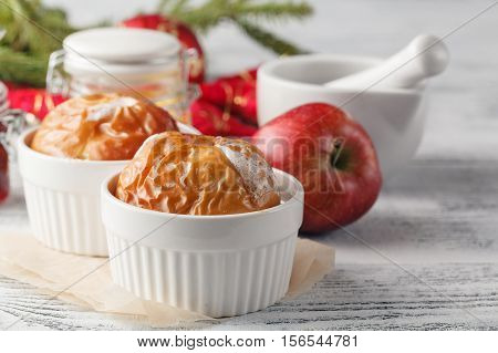 Baked Apples Baking In Oven. Fresh Apples For Baking On Board. Caramel Sauce For Baked Apples, Red B