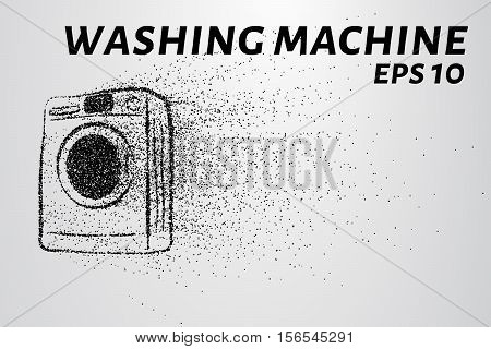 Washing machine made up of particles. Washing machine crumbles to the point. Vector illustration