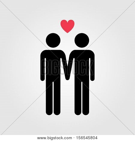 Gay couple with red heart vector icon gay marriage
