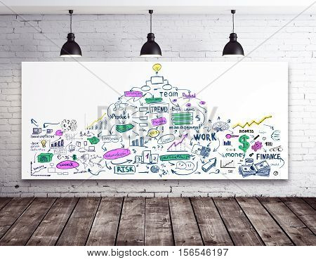 Whiteboard with creative business sketch in white brick interior with wooden floor and ceiling lamps. 3D Rendering