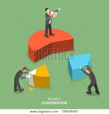 Business cooperation isometric flat vector concept. Three businesmen are building together a business chart part by part. Partnership, teamwork, collaboration, solution.