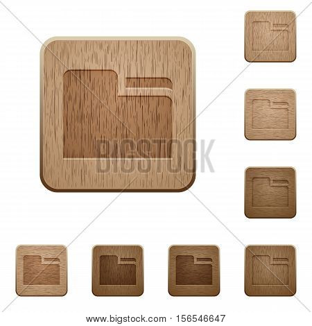 Tab folder icons in carved wooden button styles