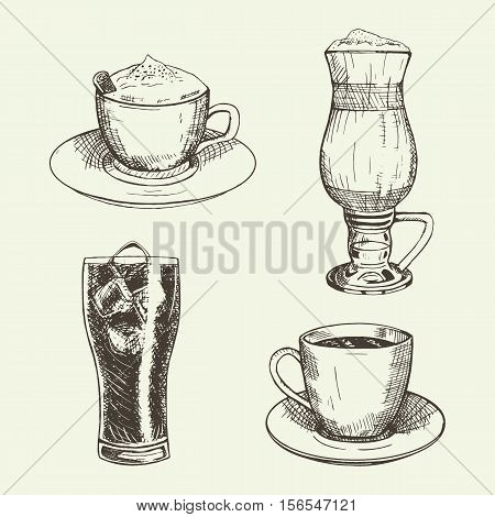 Set of graphic drinks include cup of cappuccino, latte, americano and coca-cola with ice. Vector illustration. Drinks sketch used for advertising hot and cold beverages, coffee shop and logo design.