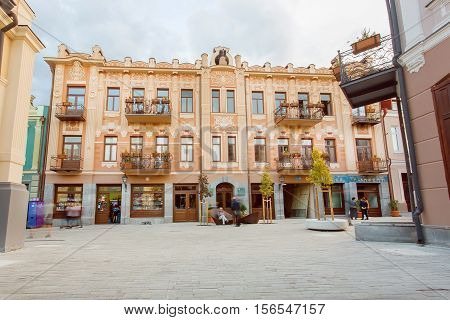 TBILISI, GEORGIA - OCT 10, 2016: Old buildings on the reconstructed street David Agmashenebeli in historical area of Tbilisi on October 10, 2016. Tbilisi has a population of 1.5 million people