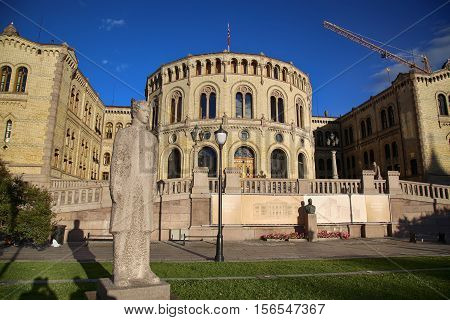 OSLO NORWAY - AUGUST 17 2016: Norwegian parliament designed by Swedish architect Emil Victor Langlet. Stortinget Oslo in central Oslo Norway on August 172016.