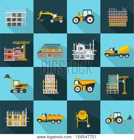 Construction flat icons set with building sites and equipment on light and dark backgrounds isolated vector illustration