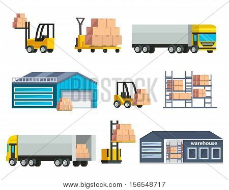 Warehouse logistics elements set with storage buildings cargo at forklifts and shelves huge trucks isolated vector illustration