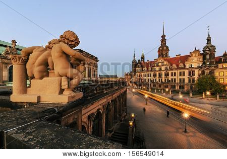 Square in Dresden and the tram in the evening. Germany Europe.