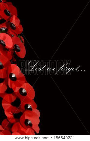 Abstract creative lest we forget Remembrance Day poppy scene